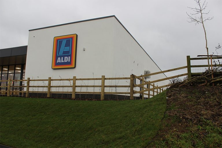 Completed Wetherby external wall insulation system at Aldi