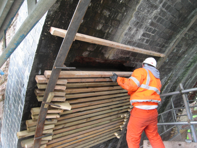 Brickwork enhancement works in progress at Little Salkeld Viaduct