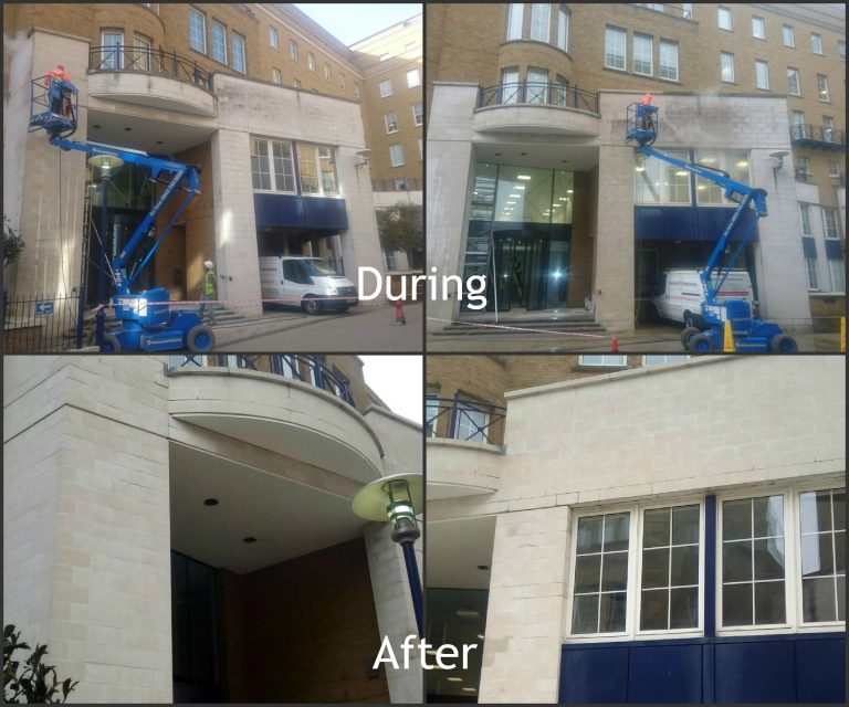 During and after shots of stonehealth doff cleaning taking place at Mocatta House, Brighton
