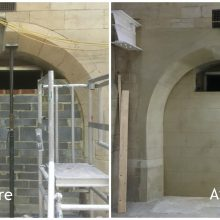 Before and after reprofiling works to Grade II listed building in Middlesbrough