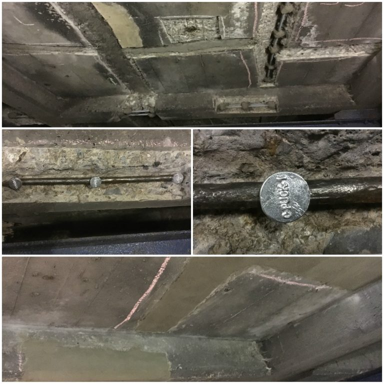 Installation of sacrificial anodes prior to concrete repair on internal concrete ceiling