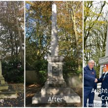 Before and after images of the clean up of Granville Memorial ready for Remembrance Day services