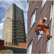 Concrete condition surveys being carried out via abseil at Irlam House, Liverpool